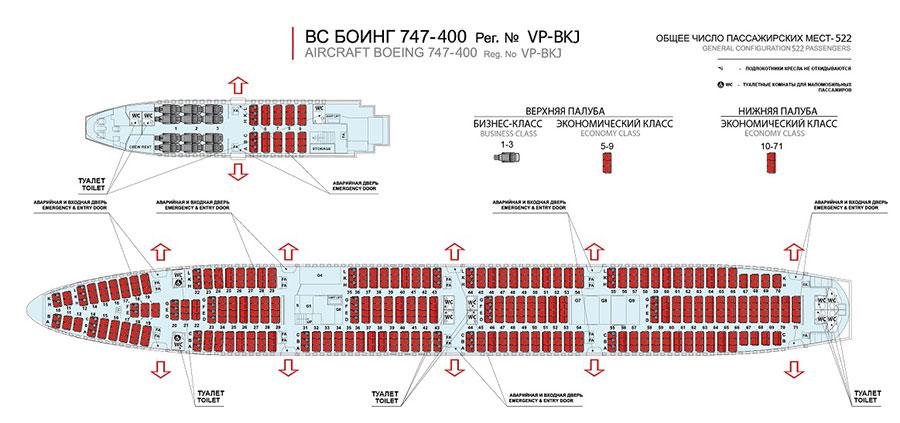 Boeing 747 400 схема салона россия лучшие места