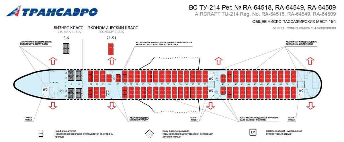 Ту-214 Трансаэро - схема