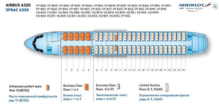 Аэробус A320 Аэрофлот - схема