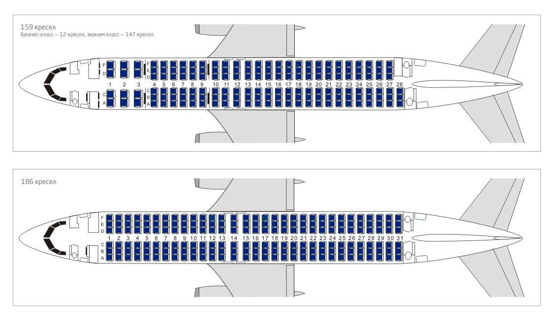 Боинг 737-800 Ютэйр - схема