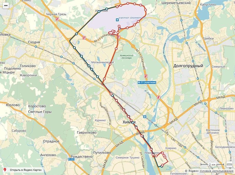 Схема маршрутов автобусов в шереметьево