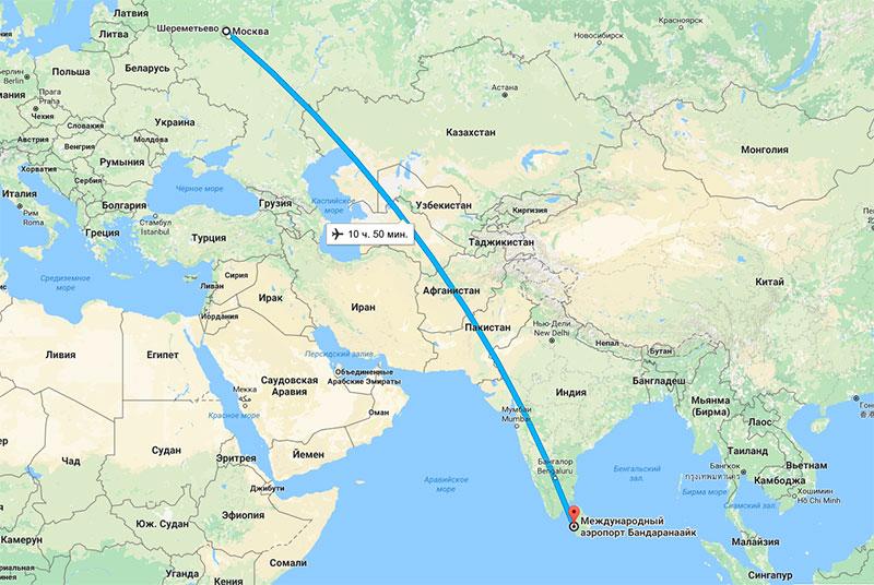 Время полета Москва – Шри-Ланка