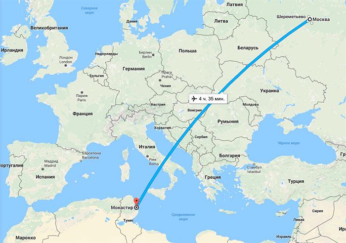 Сколько лететь до Туниса из Москвы прямым рейсом