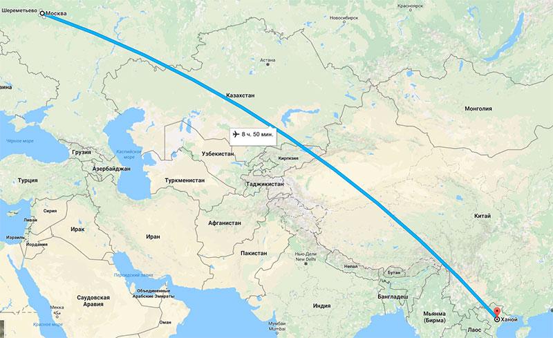 Сколько лететь до Вьетнама из Москвы прямым рейсом
