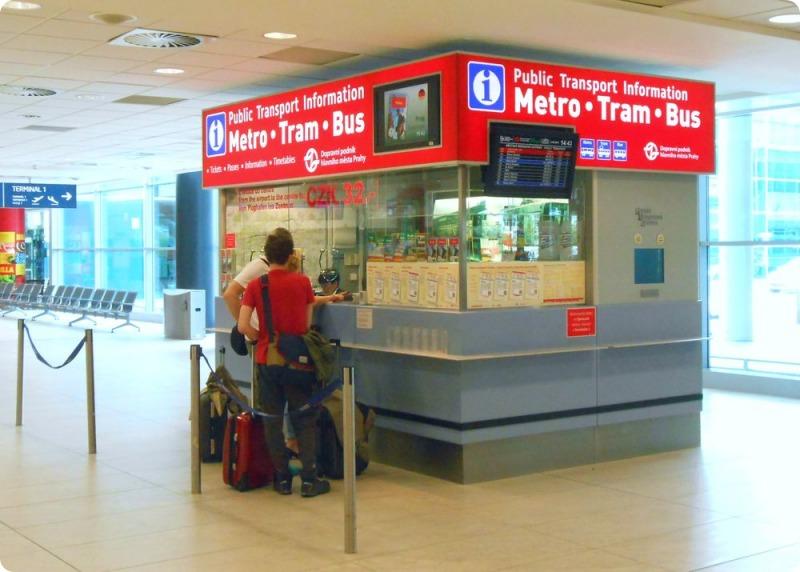 Продажа билетов на все виды транспорта в аэропорту Праги