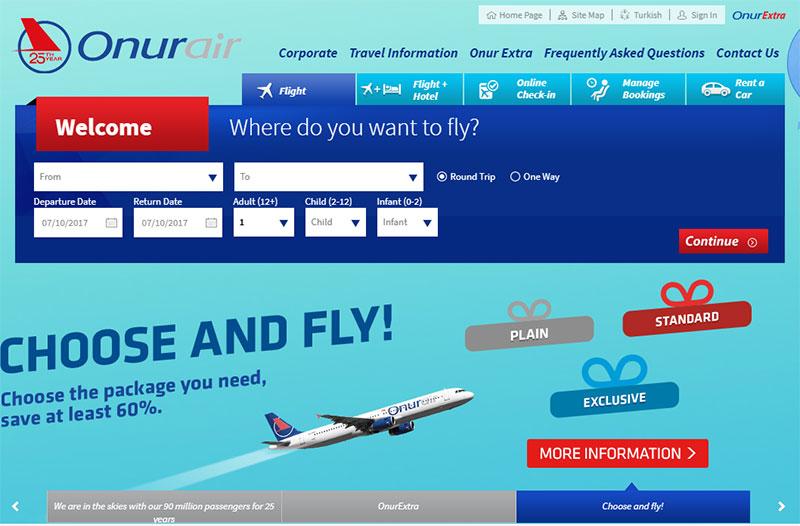Главная страница официального сайта Onur Air