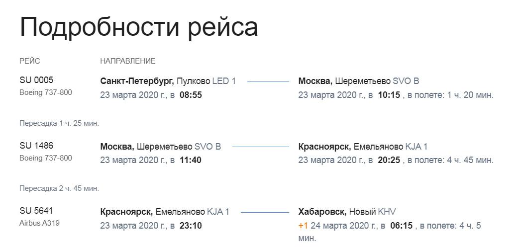 Подробности рейса